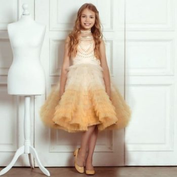 JUNONA Girls Designer Beaded & Tulle Party Dress