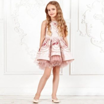 JUNONA Girls Designer Pink Beaded Rose Party Dress
