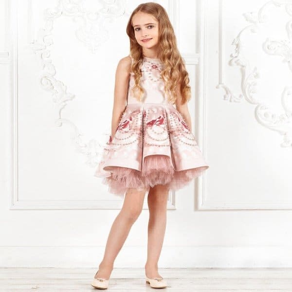 JUNONA Girls Designer Pink Beaded Rose Party Dress