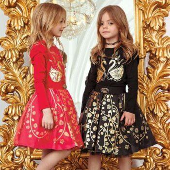 JUNONA Girls Designer Red or Black Swan Skirt Set