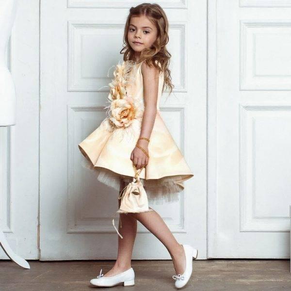 JUNONA Girls Designer Yellow Roses Party Dress