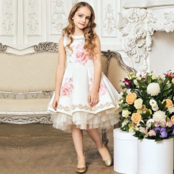 JUNONA Girls Ivory & Pink Rose Party Dress