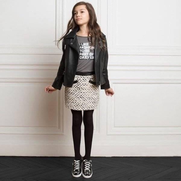 KARL LAGERFELD KIDS Girls Luxury Odina Leather Jacket Grey Logo Shirt Girls Black Cotton Tweed Skirt