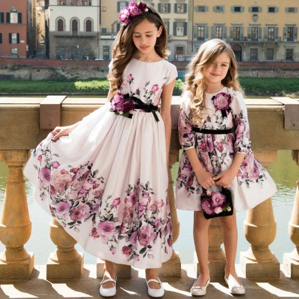 LESY Girls Pink Floral Satin Party Dress