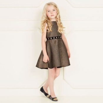 LOREDANA Girls Gold Embossed Party Dress