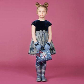 MONNALISA Blue Velvet & Organza Party Dress