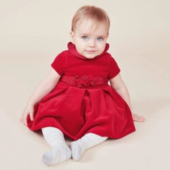 MONNALISA CHIC BABY GIRLS RED VELVET DRESS