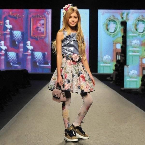 MONNALISA CHIC Girls Designer Metallic Blue Shirt Floral Jacquard Skirt Fashion Show Look