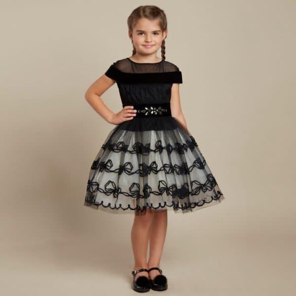 Tween Girl Fashion Black: MONNALISA COUTURE Girls Black Velvet Party Dress