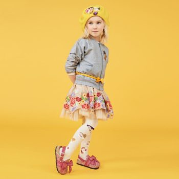 MONNALISA GIRLS IVORY FLORAL DRESS & GREY SNOW WHITE ZIP UP SWEATSHIRT