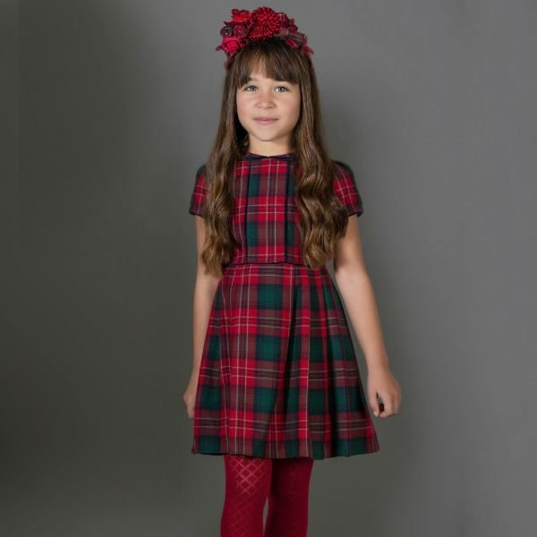 PATACHOU Girls Red Tartan Party Dress