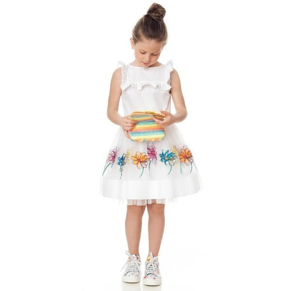SIMONETTA Girls White Cotton & Tulle Party Dress