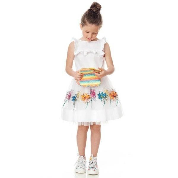 SIMONETTA Girls White Cotton & Tulle Party Dress
