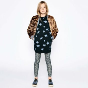 STELLA MCCARTNEY KIDS GIRLS TIGER FUR BOMBER JACKET & GREEN STAR SWEATSHIRT DRESS