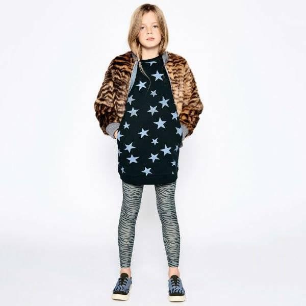 STELLA MCCARTNEY KIDS Girls Tiger Fur Bomber Jacket and Green Star Sweatshirt Dress
