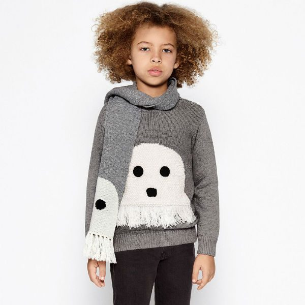 STELLA MCCARTNEY KIDS Grey Knitted Ghost Sweater & Scarf