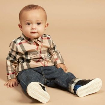 BURBERRY Boys Beige Check Shirt Pierre Blue Jeans