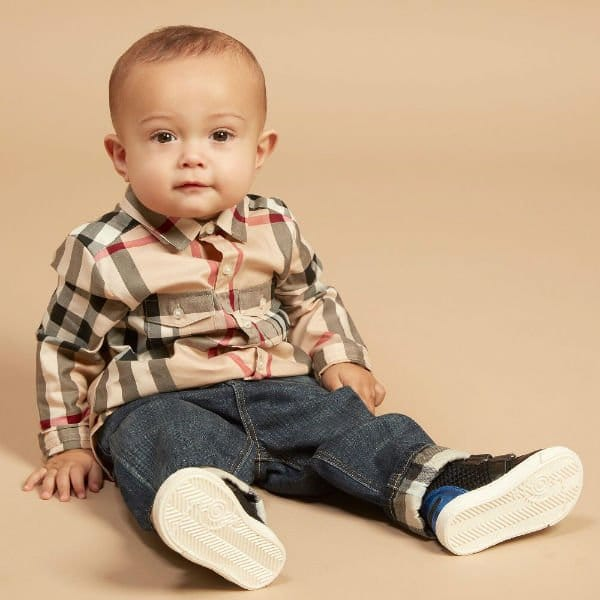 d2d27873bf745 BURBERRY Baby Boys Beige Check Shirt   Pierre Blue Jeans
