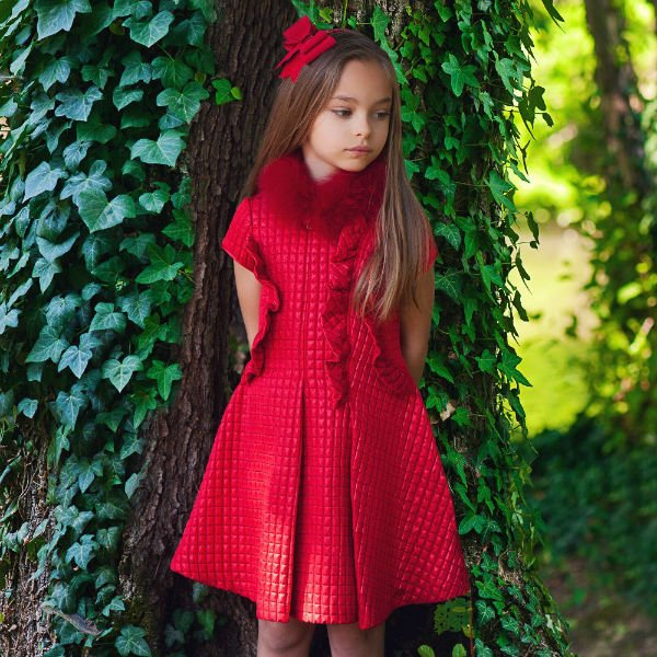 VALMAX Girls Red Quilted Party Dress