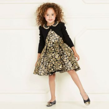 DAVID CHARLES GIRLS BLACK & GOLD PARTY DRESS