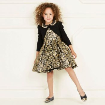 DAVID CHARLES Girls Black & Gold Jacquard Dress