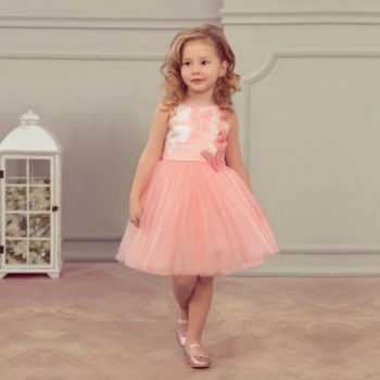 JUNONA Girls Pink Tulle Tulip Butterfly Dress