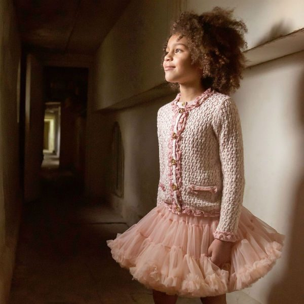 ANGEL'S FACE Girls Pink Knitted Jacket Pink Tulle Skirt