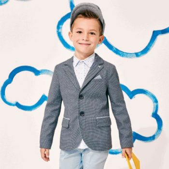 ARMANI JUNIOR BOYS BLUE PATTERNED BLAZER