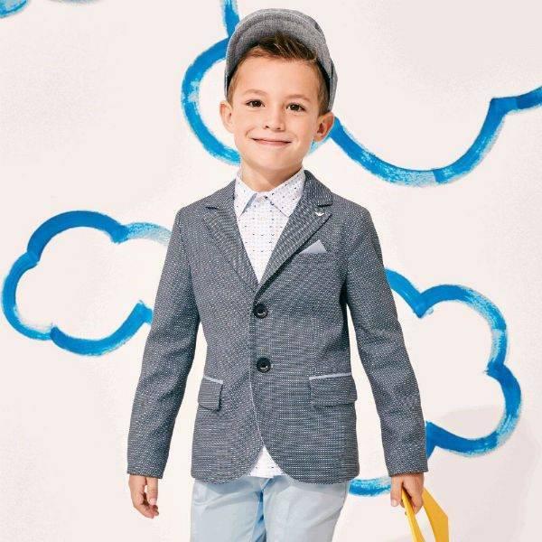 ARMANI JUNIOR Boys Blue Patterned Blazer for Spring Summer 2018