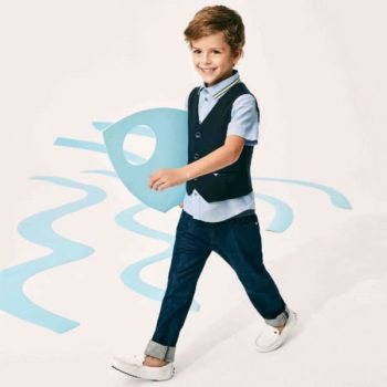 ARMANI JUNIOR BOYS BLUE VEST, COTTON SHIRT AND JEANS
