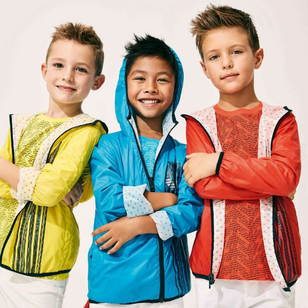 ARMANI JUNIOR Boys Yellow Orange Blue Colorful Reversible Jacket for Spring Summer 2018