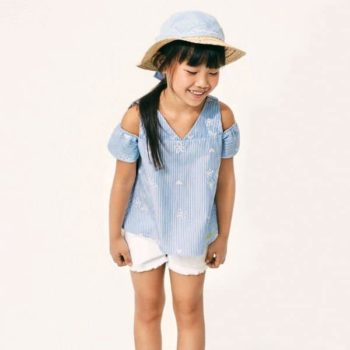 ARMANI JUNIOR GIRLS BLUE STRIPED BLOUSE & WHITE SHORTS