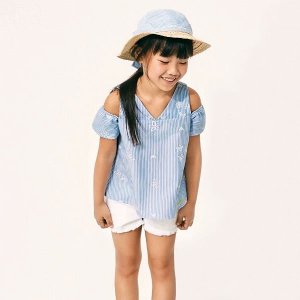 ARMANI JUNIOR Girls Blue Striped Blouse and White Shorts for Spring Summer 2018