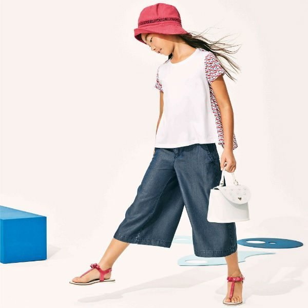 ARMANI JUNIOR Girls White Pattern Sleeve Shirt and Blue Chambray Culottes for Spring Summer 2028