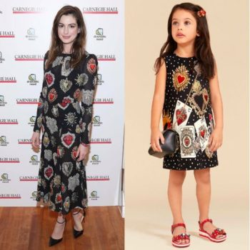 Anne Hathaway DOLCE & GABBANA Girls Carte Gioco Dress Childrens Monologues Carnegie Hall Nov 2017