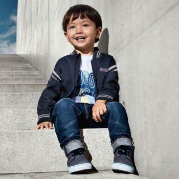 BOSS Boys Blue Logo Bomber Jacket Logo Tshirt Jeans Spring Summer 2018