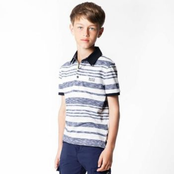 BOSS Boys Blue Striped Polo Shirt and Shorts Spring Summer 2018