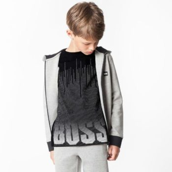 BOSS Boys Grey Hooded Top and Black Logo Print T-shirt for Spring Summer 2018
