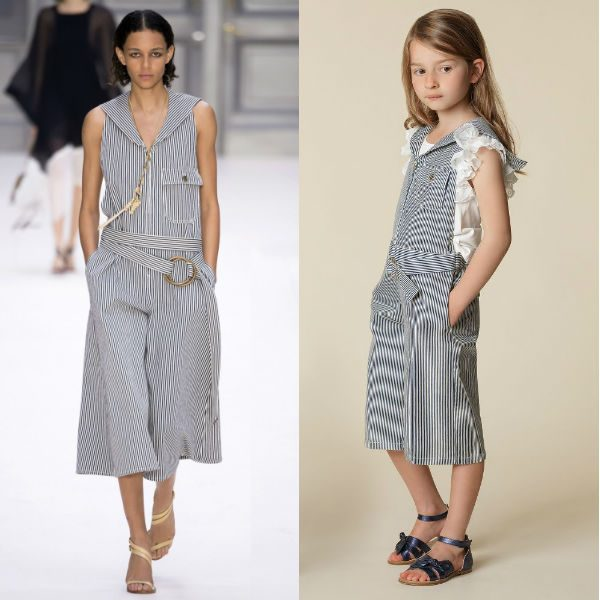 CHLOÉ Girls Mini Me Blue & White Overalls Spring Summer 2018