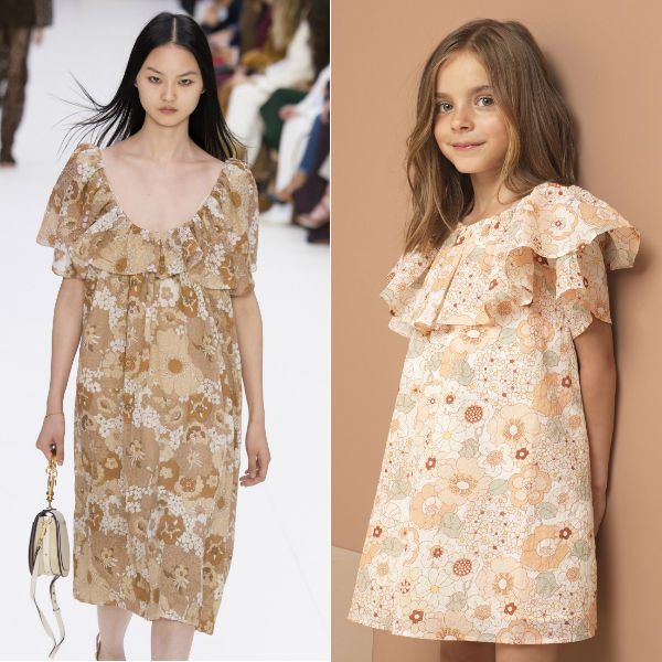 CHLOÉ Girls Mini Me Pink Floral Cotton Dress Spring Summer 2018