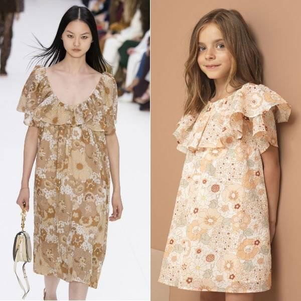 CHLOÉ Girls Mini Me Pink Floral Cotton Dress Spring Summer 2018