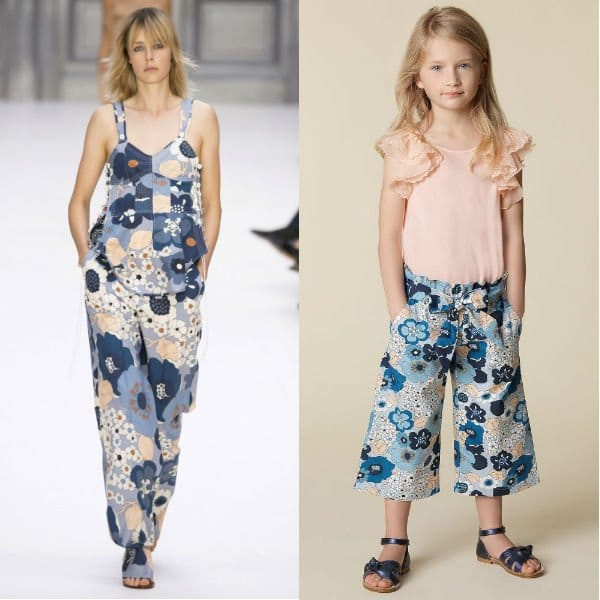 CHLOÉ Girls Mini-Me Pink Ruffle Sleeve Shirt and Blue Floral Culottes