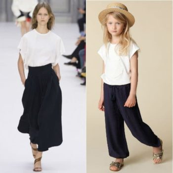 CHLOÉ Girls Mini Me White Shirt Blue Voile Trousers Spring Summer 2018