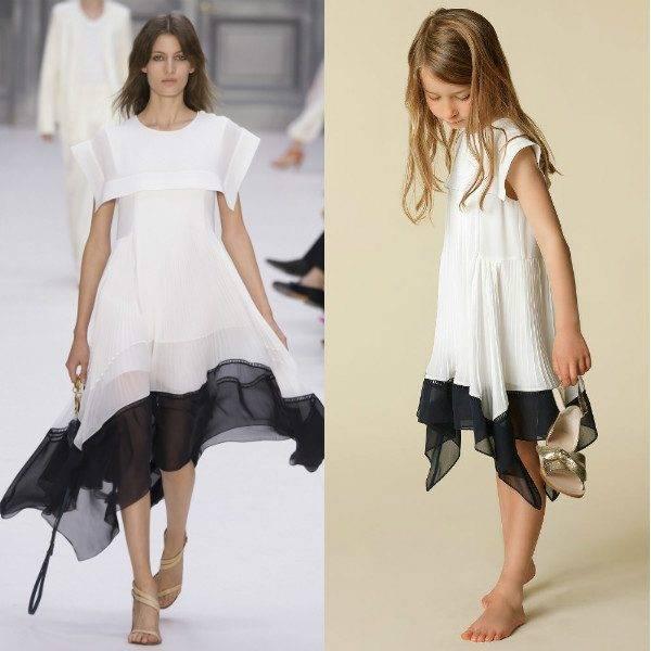 CHLOE GIRLS MINI ME WHITE & BLUE CREPE DRESS