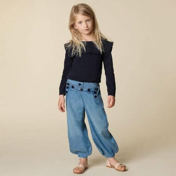 CHLOE Girls Blue Cotton Sweater & Harem Blue Jeans for Spring Summer 2018