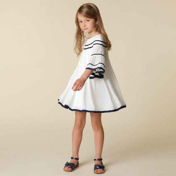 CHLOE Girls Mini Me White Crepe Dress for Spring Summer 2018