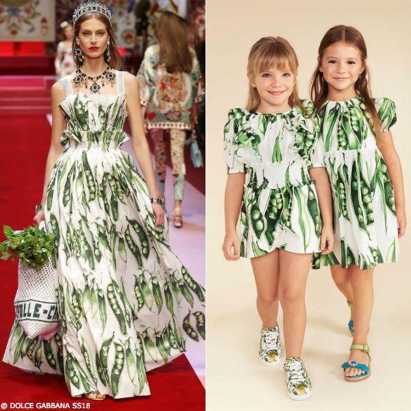 DOLCE & GABBANA GIRLS MINI ME GREEN PISELLI PEA PLAYSUIT & DRESS