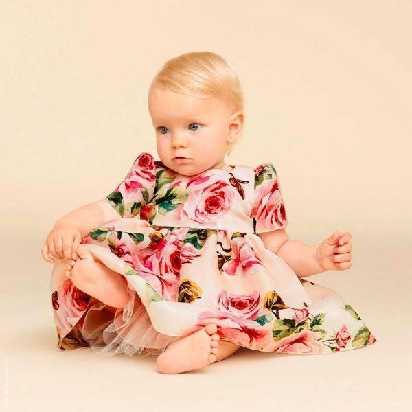 DOLCE & GABBANA Girls Baby Pink Roses Silk Dress Spring Summer 2018
