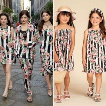 DOLCE & GABBANA Girls Mini Me Love Christmas Rose Black Stripe Sun Dress
