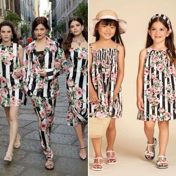 4c65876985 DOLCE   GABBANA Girls Mini Me Love Christmas Rose Black Stripe Sun Dress